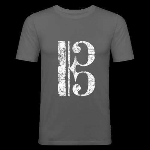 Altschlüssel, Tenorschlüssel (Vintage/Weiß) Slim Fit T-Shirt - Männer Slim Fit T-Shirt