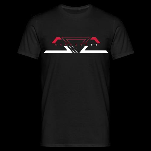 RACKZED55 BLK BLU RED ON WHT  - Männer T-Shirt