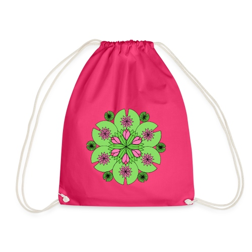 Pond Lotus Mandala - Drawstring Bag