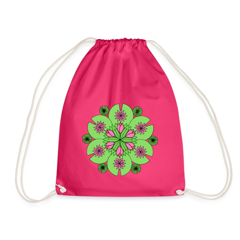 Pond Lotus Mandala - Drawstring Bag