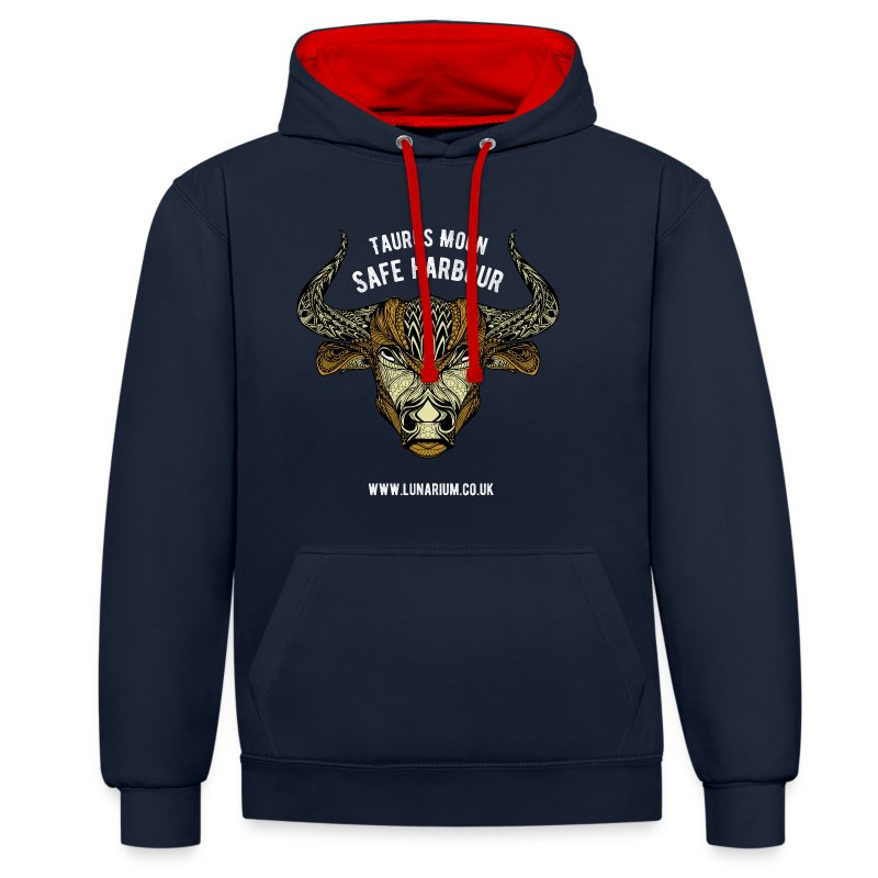 Taurus Moon Contrast Colour Hoodie - Contrast Colour Hoodie