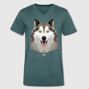 Animal Planet Dogs Husky Geometric Pattern - Men's V-Neck T-Shirt