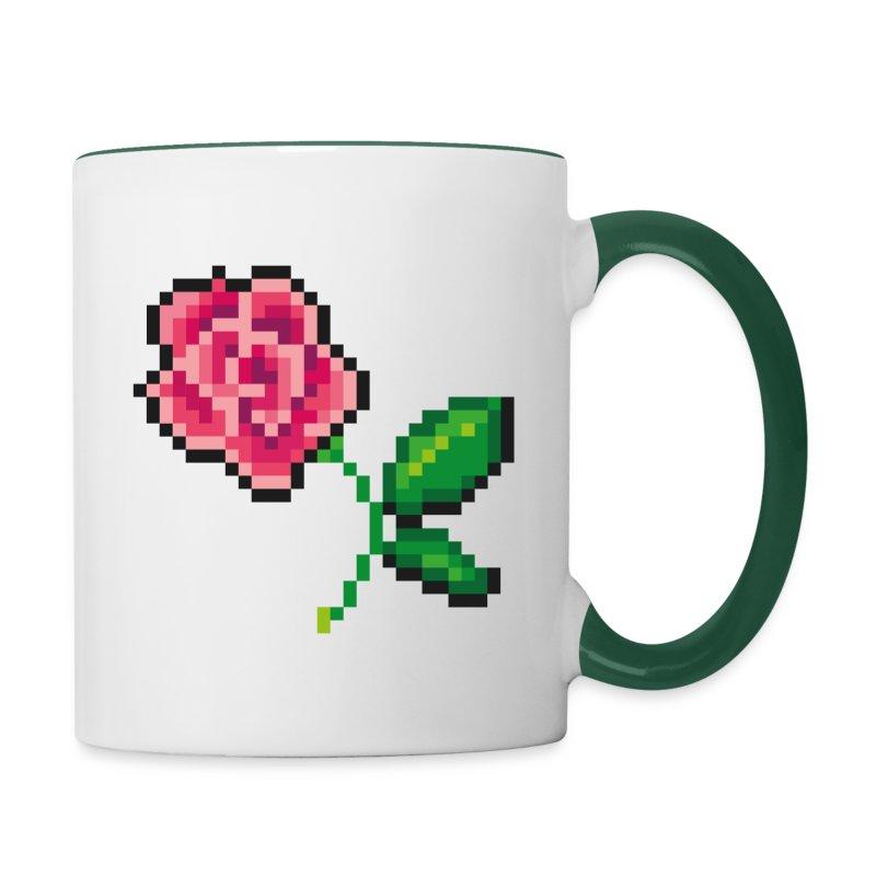 Pixel Rose Tasse - Tasse zweifarbig