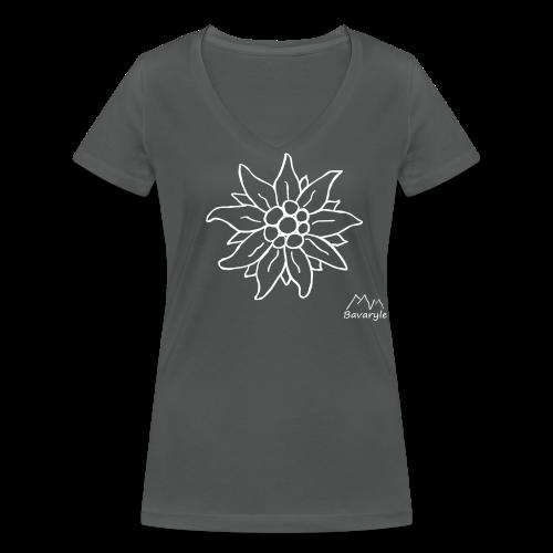 Bio Shirt für Damen - Edelweiß - Frauen Bio-T-Shirt mit V-Ausschnitt von Stanley & Stella
