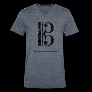 Tenorschlüssel (Vintage/Schwarz) V-Neck T-Shirt - Männer Bio-T-Shirt mit V-Ausschnitt von Stanley & Stella