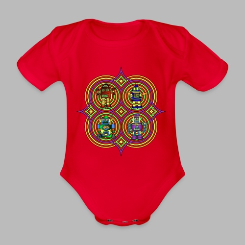RETRO ROBOTS ------ (3mths-18mths) - Organic Short-sleeved Baby Bodysuit