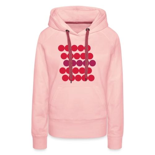 Frauen Hoodie Pullover. Minimalistisch. Kreise in Linien. Rot mit Beere. - Frauen Premium Hoodie