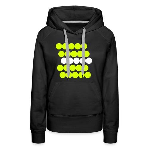 Frauen Hoodie Pullover. Minimalistisch. Kreise in Linien. Gelb mit weiß. - Frauen Premium Hoodie
