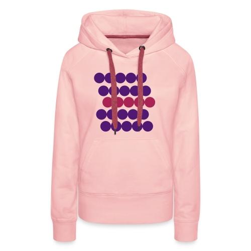 Frauen Hoodie Pullover. Minimalistisch. Kreise in Linien. Lila mit Beere. - Frauen Premium Hoodie