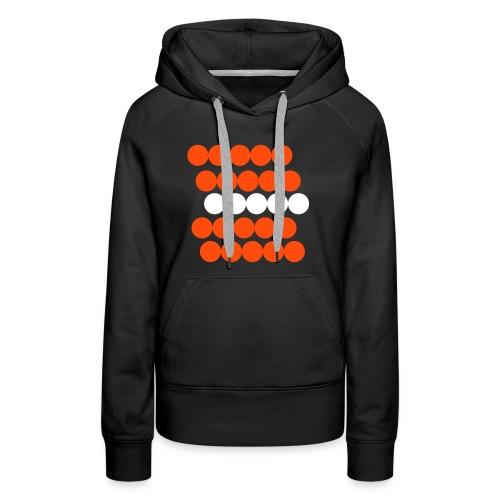 Frauen Hoodie Pullover. Minimalistisch. Kreise in Linien. Orange mit weiß. - Frauen Premium Hoodie