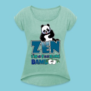 Women's T-Shirt Bad panda, be zen or not - Women's T-shirt with rolled up sleeves