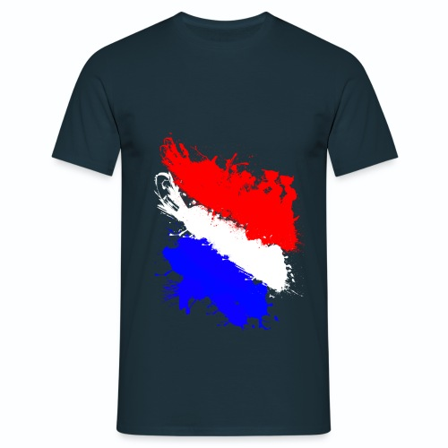 T shirt bleu blanc rouge homme bleu m Drapeau français en peinture - T-shirt Homme