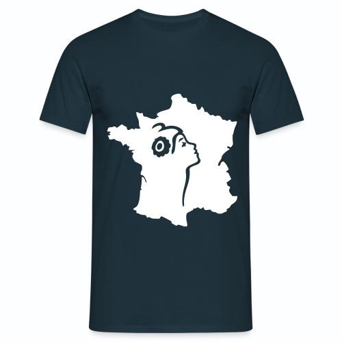 T shirt bleu blanc rouge Marianne et carte de France HBM - T-shirt Homme