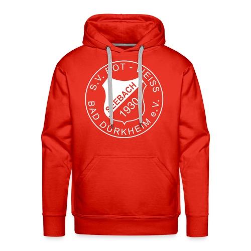 Männer Premium Kapuzenpullover rot Logo weiß - Männer Premium Hoodie