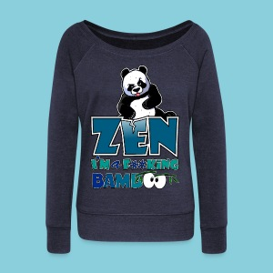 Women's Long Sleeve Top Bad panda, be zen or not - Women's Boat Neck Long Sleeve Top