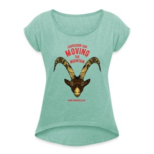 Capricorn Sun Women's T-shirt with rolled up sleeves - Women's T-shirt with rolled up sleeves