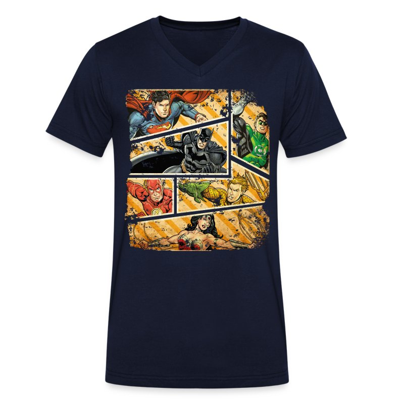 dc comics justice league collage t shirt spreadshirt. Black Bedroom Furniture Sets. Home Design Ideas