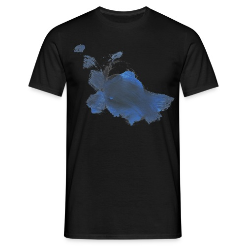 blauer Hase auf schwarzem Männershirt - Männer T-Shirt
