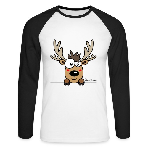 T-shirt ml bicolore Homme, Caribou, Renne, Noël - T-shirt baseball manches longues Homme