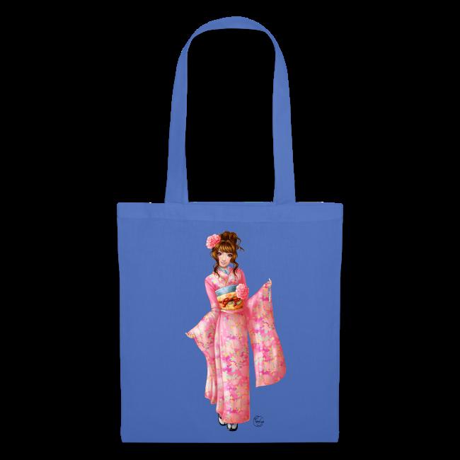 Pink kimono tote bag