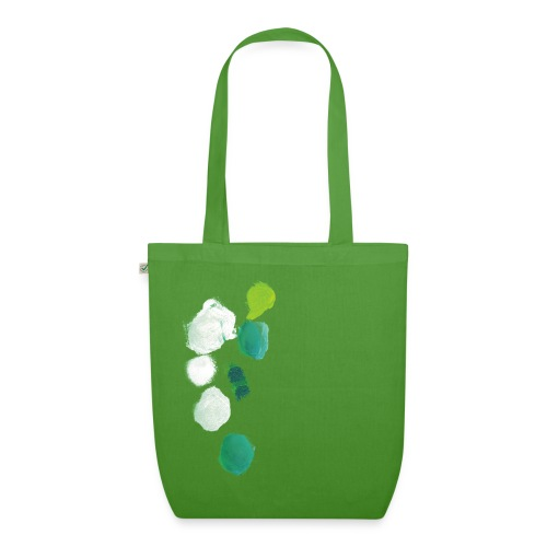 grüne Kleckse auf grüner Tasche - Bio-Stoffbeutel