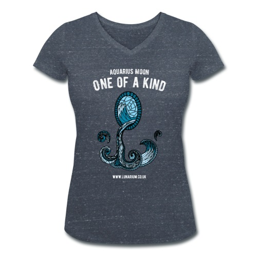 Aquarius Moon Women's V-Neck T-Shirt - Women's Organic V-Neck T-Shirt by Stanley & Stella