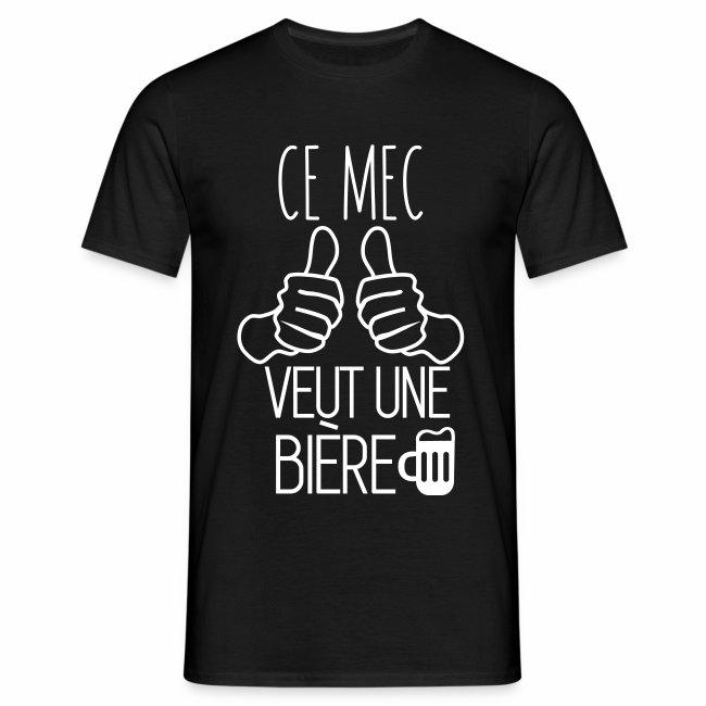 T-shirt humour citations ce mec veut une bière