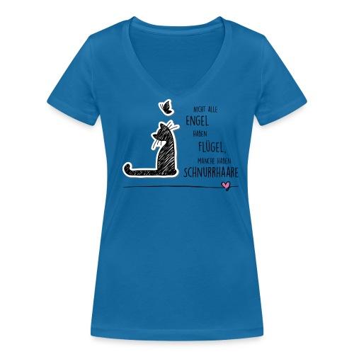 Cat Angel - Frauen T-Shirt mit V-Ausschnitt - Frauen Bio-T-Shirt mit V-Ausschnitt von Stanley & Stella