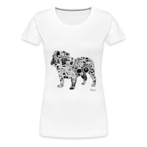 Bulldog (Black) - Womens Premium Tee - Women's Premium T-Shirt