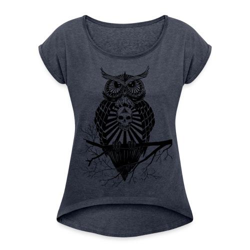 Hiboux psychédélique - T-shirt à manches retroussées Femme