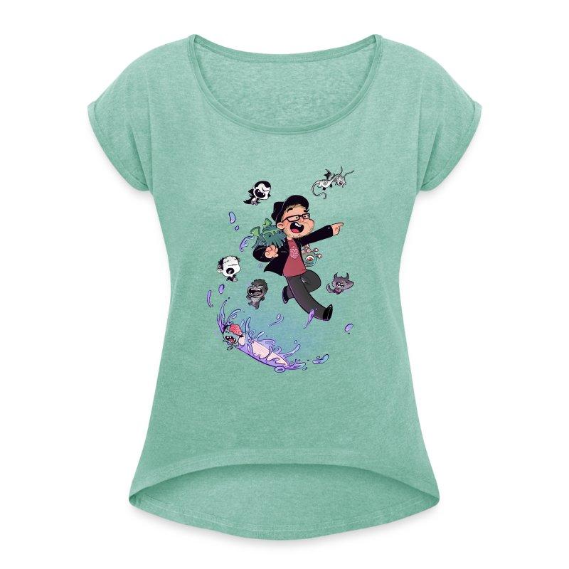 NEW t-shirt femme manches retroussées - T-shirt à manches retroussées Femme