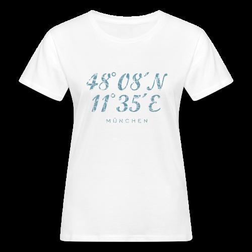 München Koordinaten (Vintage/Blau) Bio T-Shirt - Frauen Bio-T-Shirt
