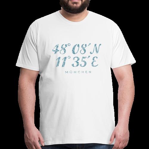 München Koordinaten (Vintage/Blau) S-5XL T-Shirt - Männer Premium T-Shirt