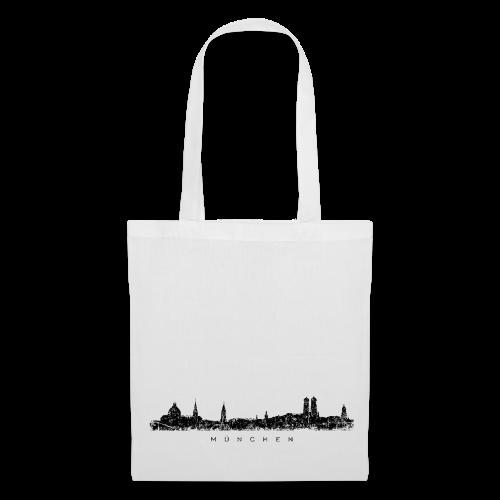München Skyline (Vintage/Schwarz) Stofftasche - Stoffbeutel