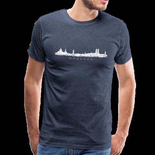 München Skyline (Vintage/Weiß) S-5XL T-Shirt - Männer Premium T-Shirt