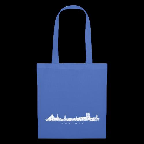 München Skyline (Vintage/Weiß) Stofftasche - Stoffbeutel