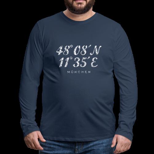 München Koordinaten (Vintage/Weiß) Langarmshirt - Männer Premium Langarmshirt