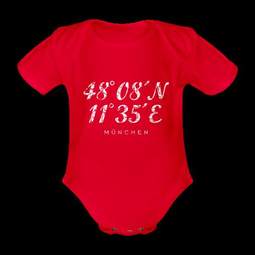 München Koordinaten (Vintage/Weiß) Babybody - Baby Bio-Kurzarm-Body