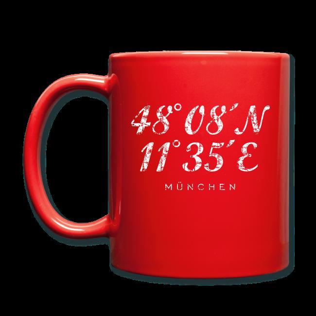 München Koordinaten (Vintage/Weiß) Tasse