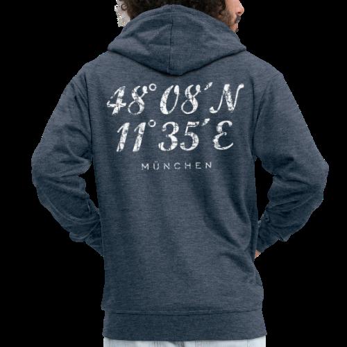 München Koordinaten (Vintage/Weiß) Kapuzenjacke - Männer Premium Kapuzenjacke