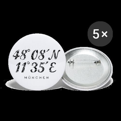 München Koordinaten (Vintage/Schwarz) Anstecker - Buttons mittel 32 mm (5er Pack)