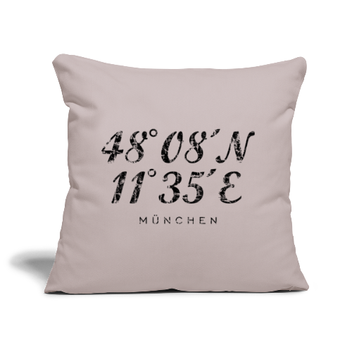 München Koordinaten (Vintage/Schwarz) Kissenbezug - Sofakissenbezug 44 x 44 cm