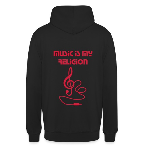 Sweat-shirt à capuche unisexe - music is my religion pull music