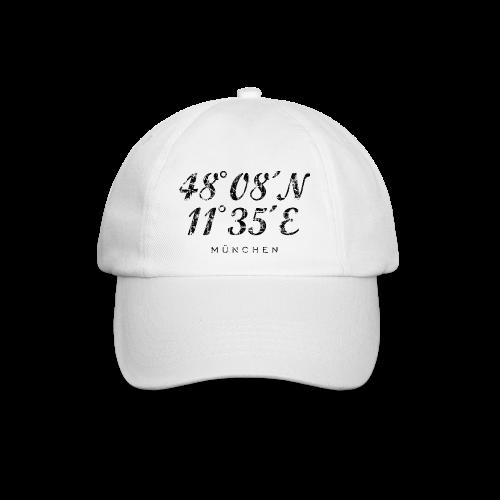 München Koordinaten (Vintage/Schwarz) Baseballkappe - Baseballkappe