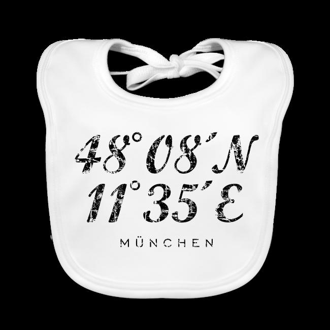 München Koordinaten (Vintage/Schwarz) Babylätzchen