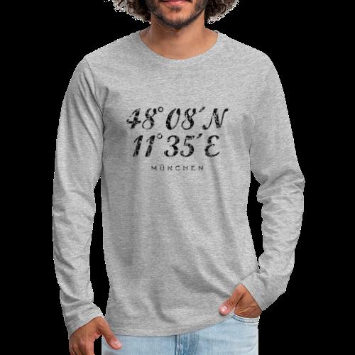 München Koordinaten (Vintage/Schwarz) Langarmshirt - Männer Premium Langarmshirt