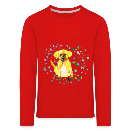 Kinder-Langarmshirt *Hund* rot - Kinder Premium Langarmshirt