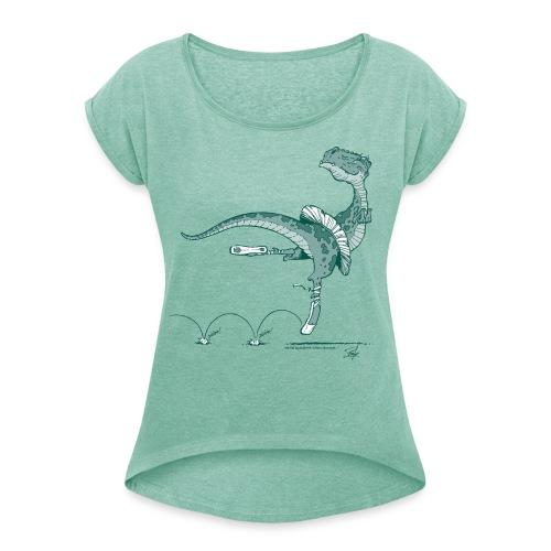 Tanz-Dino - Frauen T-Shirt mit gerollten Ärmeln