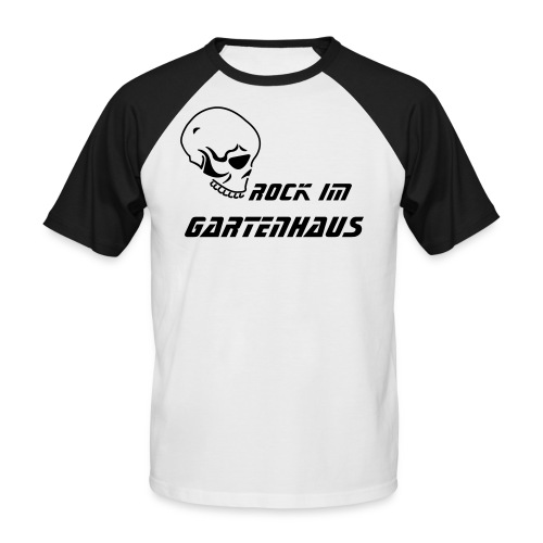 Rock im Gartenhaus - Black & White Shirt - Männer Baseball-T-Shirt