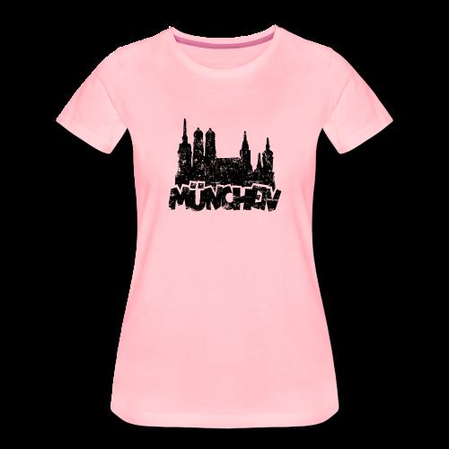 München Skyline Vintage S-3XL T-Shirt - Frauen Premium T-Shirt